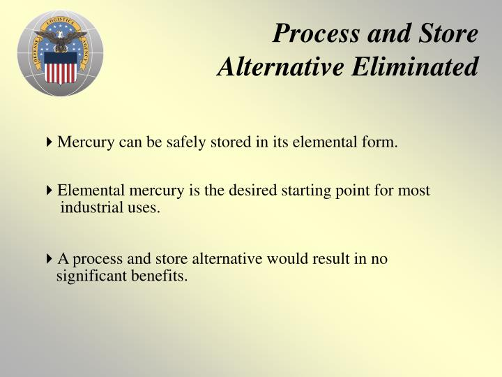 Process and Store Alternative Eliminated