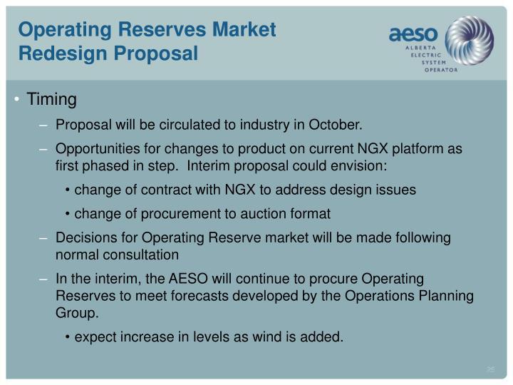 Operating Reserves Market Redesign Proposal