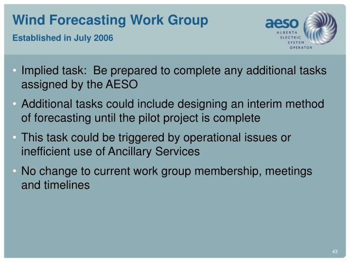 Wind Forecasting Work Group