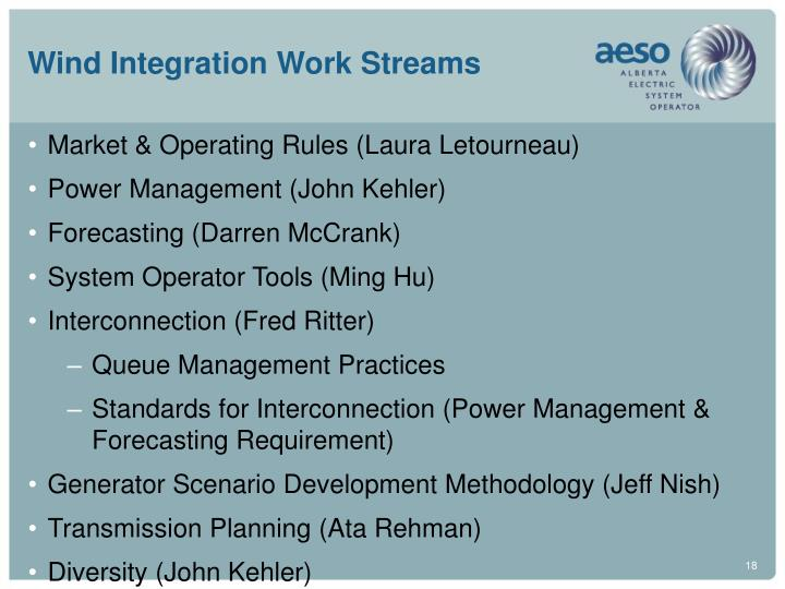 Wind Integration Work Streams