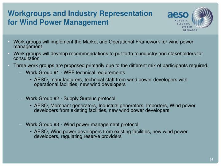 Workgroups and Industry Representation for Wind Power Management