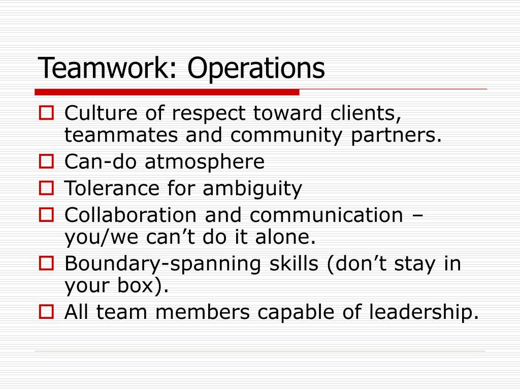 Teamwork: Operations