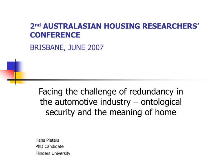 2 nd australasian housing researchers conference brisbane june 2007