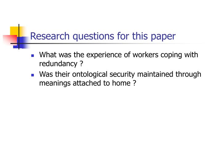 Research questions for this paper