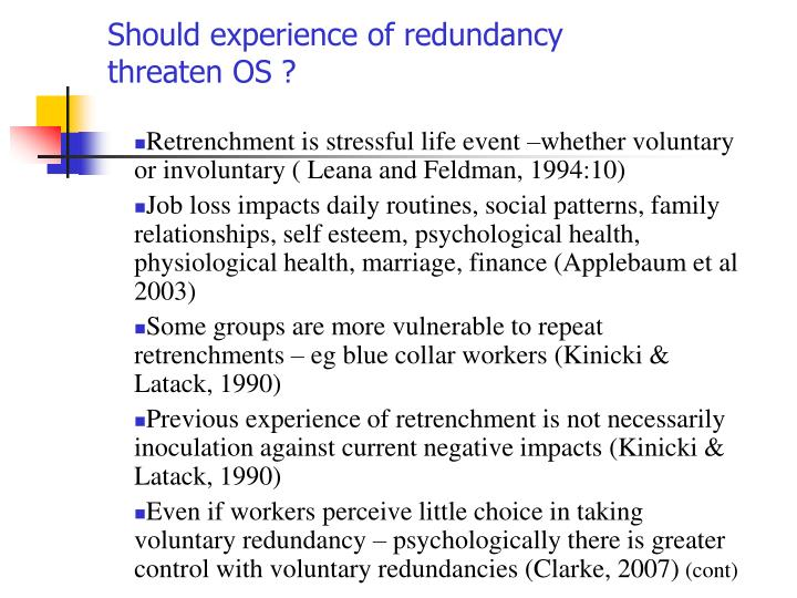 Should experience of redundancy