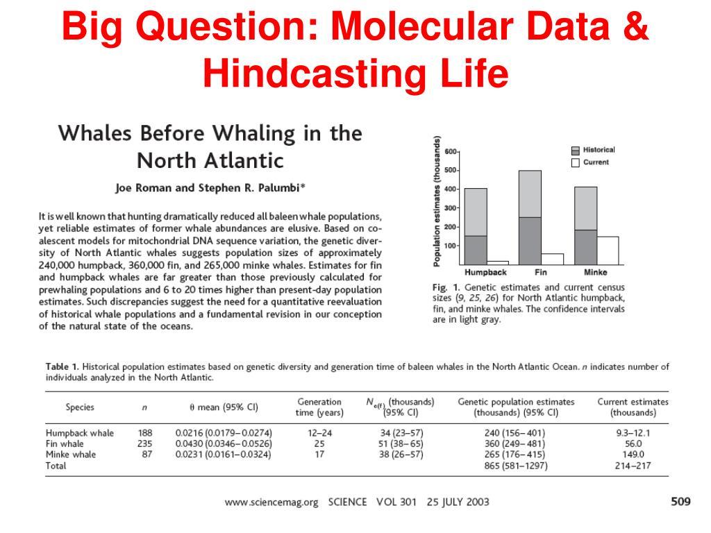 Big Question: Molecular Data & Hindcasting Life