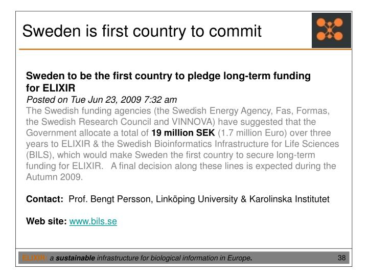 Sweden is first country to commit