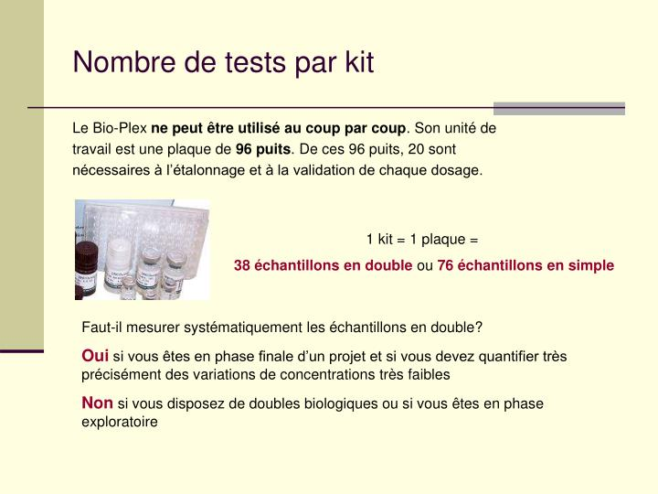 Nombre de tests par kit