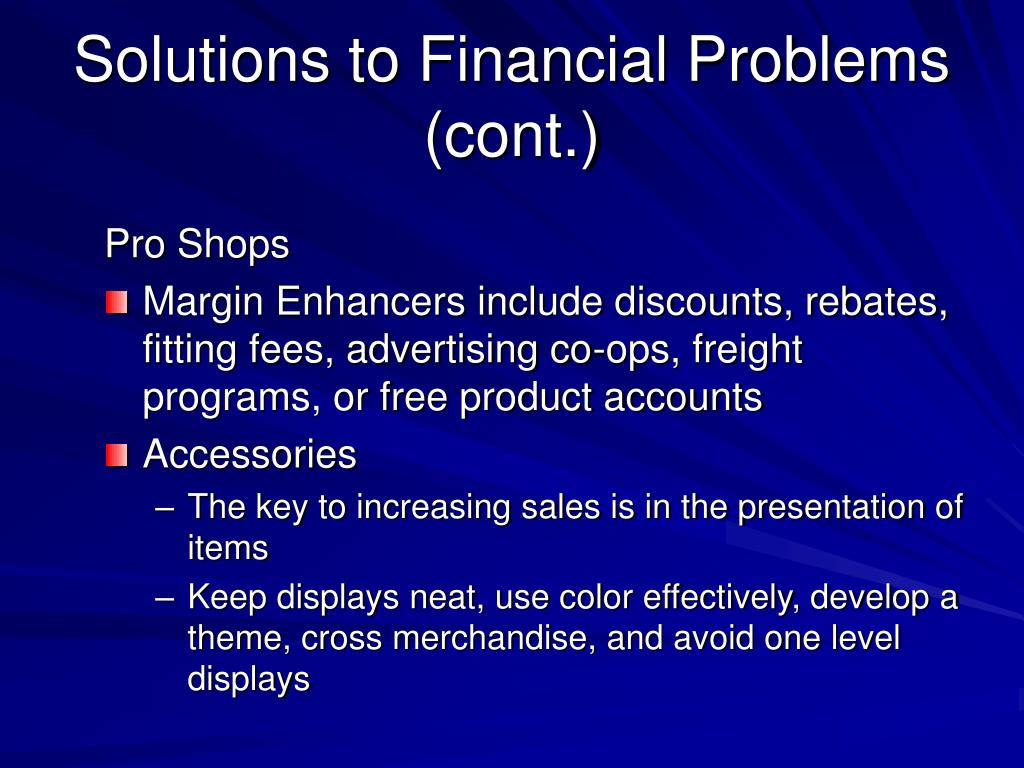 Solutions to Financial Problems (cont.)
