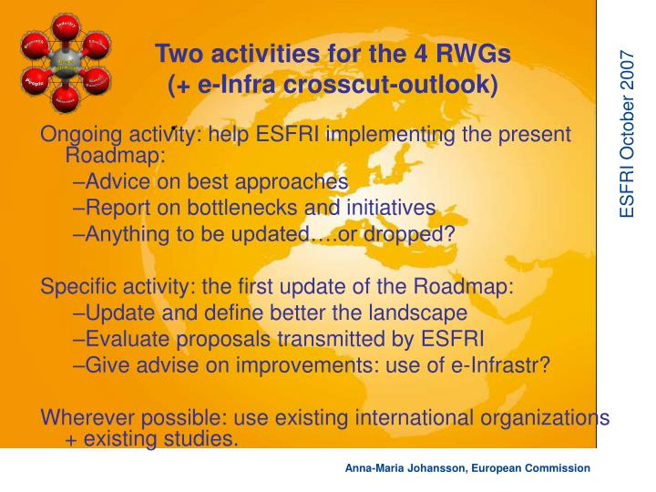 Ongoing activity: help ESFRI implementing the present Roadmap: