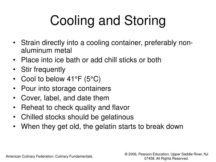 Cooling and Storing