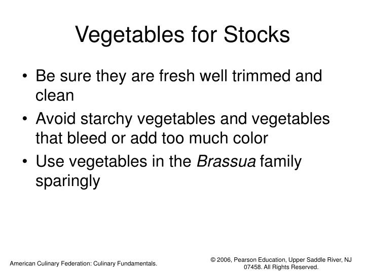Vegetables for Stocks