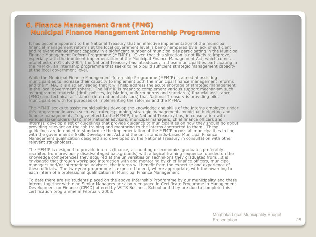 6. Finance Management Grant (FMG)