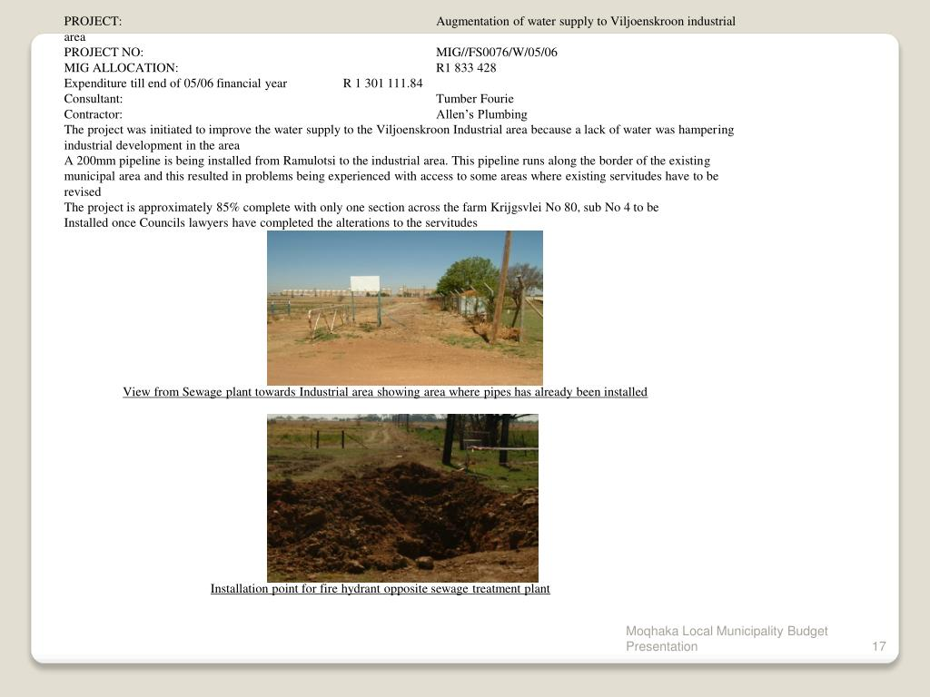 PROJECT:  	 			Augmentation of water supply to Viljoenskroon industrial area