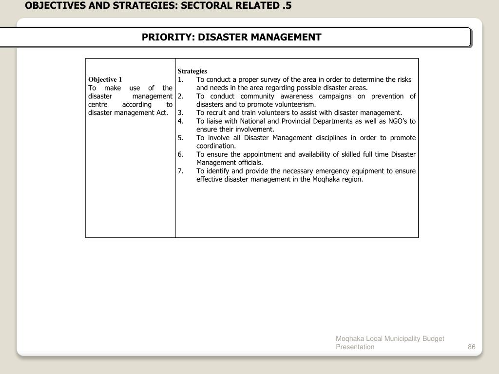 OBJECTIVES AND STRATEGIES: SECTORAL RELATED .5