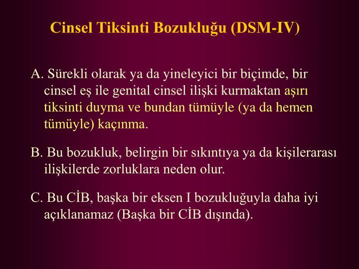 Cinsel Tiksinti Bozukluğu (DSM-IV)