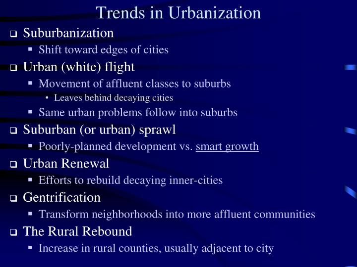 Trends in Urbanization