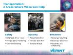 transportation 3 areas where video can help