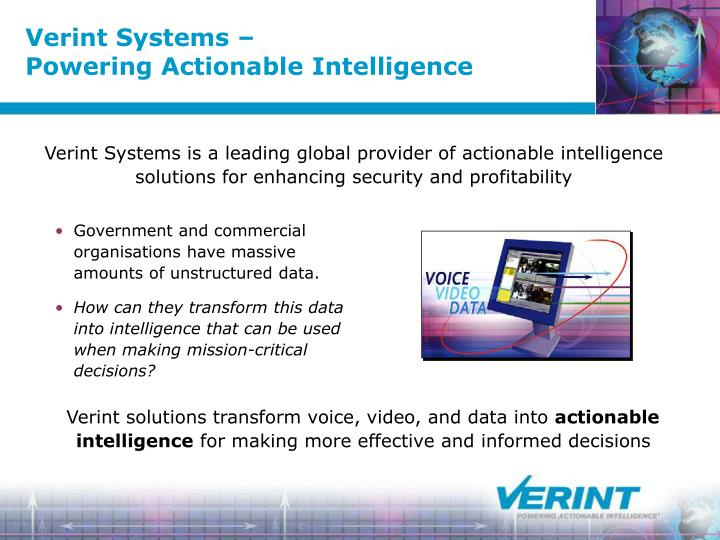 Verint systems powering actionable intelligence