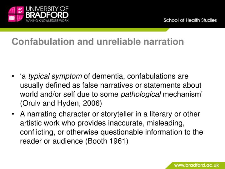 Confabulation and unreliable narration