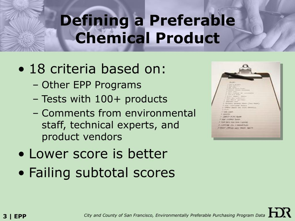 Defining a Preferable Chemical Product