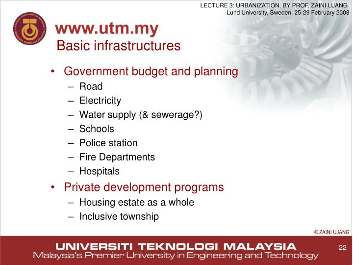 Basic infrastructures