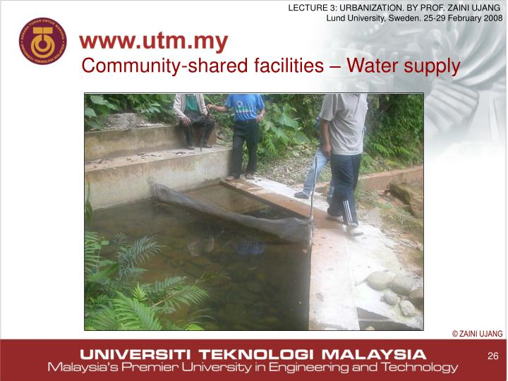 Community-shared facilities – Water supply