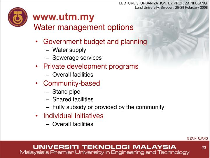 Water management options