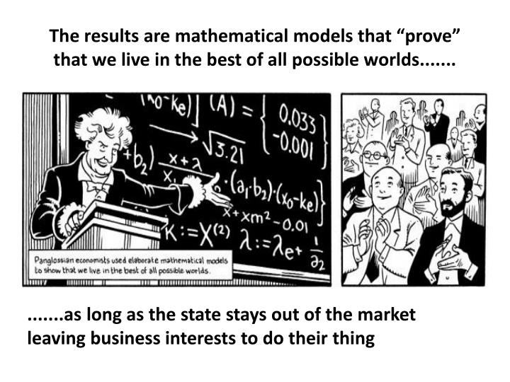 """The results are mathematical models that """"prove"""" that we live in the best of all possible worlds......."""