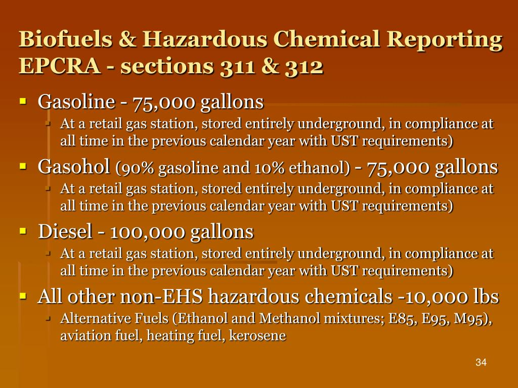 Biofuels & Hazardous Chemical Reporting
