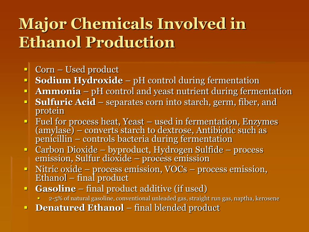 Major Chemicals Involved in Ethanol Production