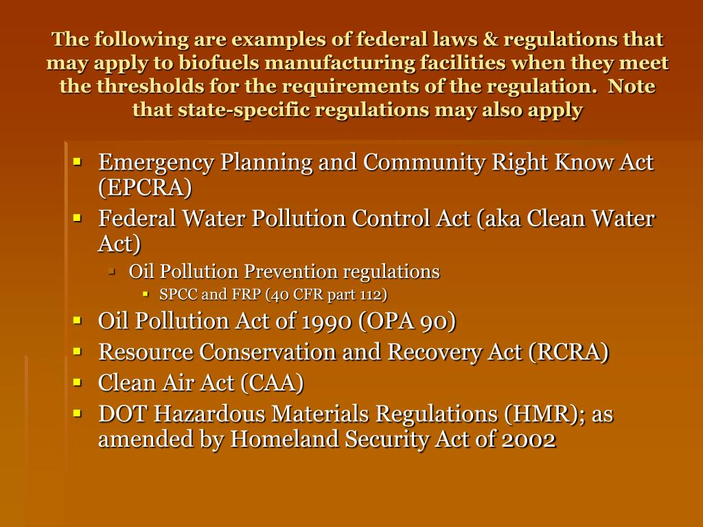 Emergency Planning and Community Right Know Act (EPCRA)
