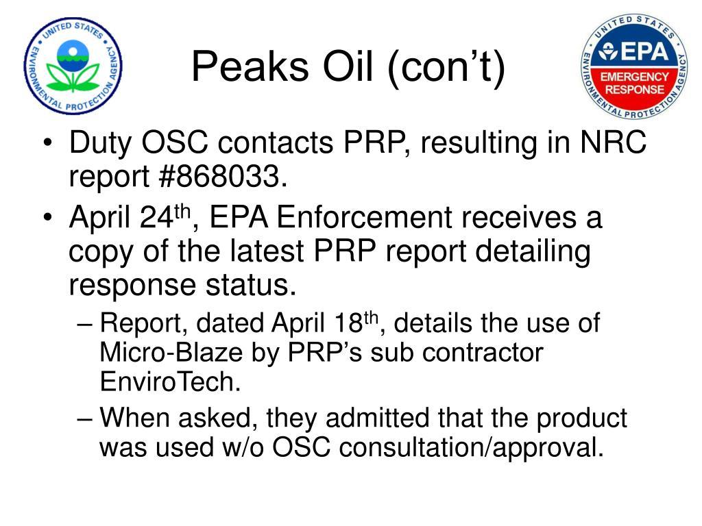 Peaks Oil (con't)