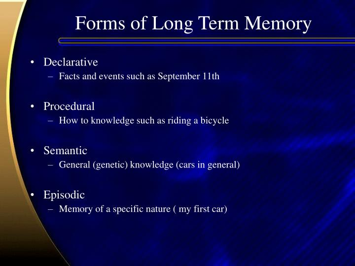 Forms of Long Term Memory