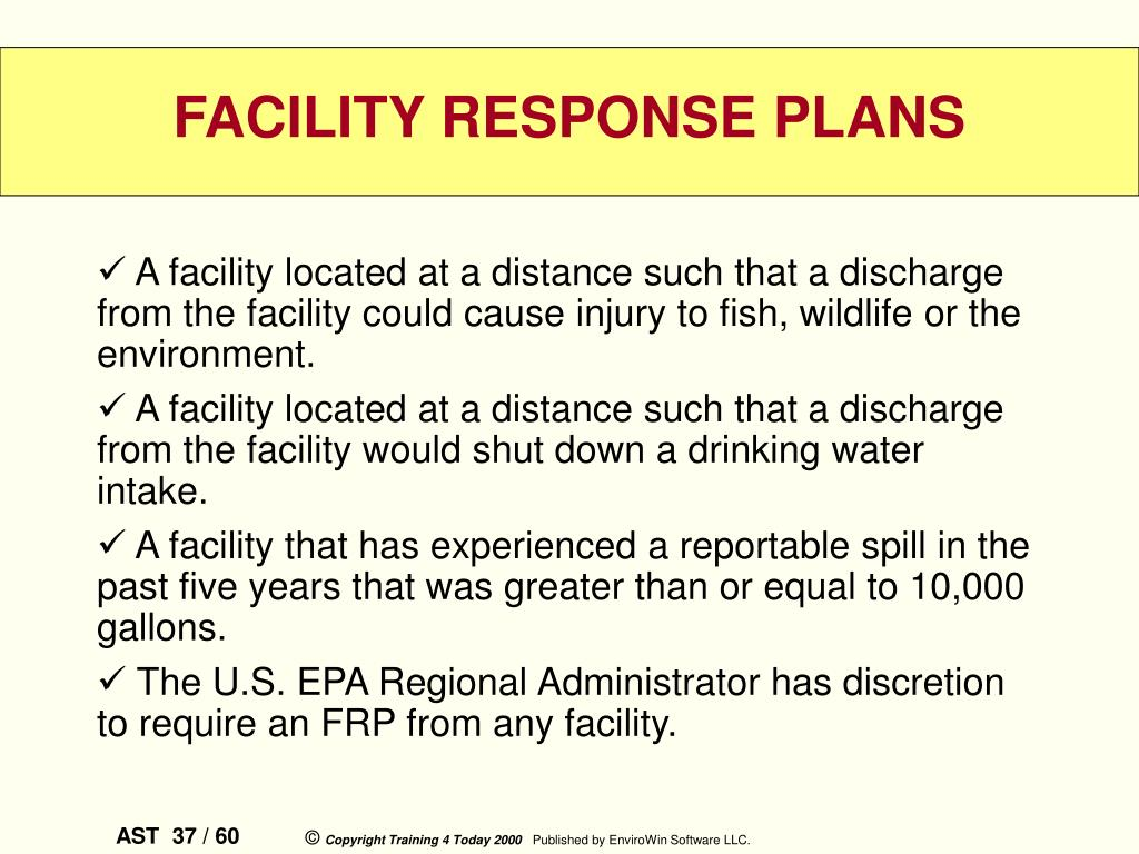 A facility located at a distance such that a discharge from the facility could cause injury to fish, wildlife or the environment.