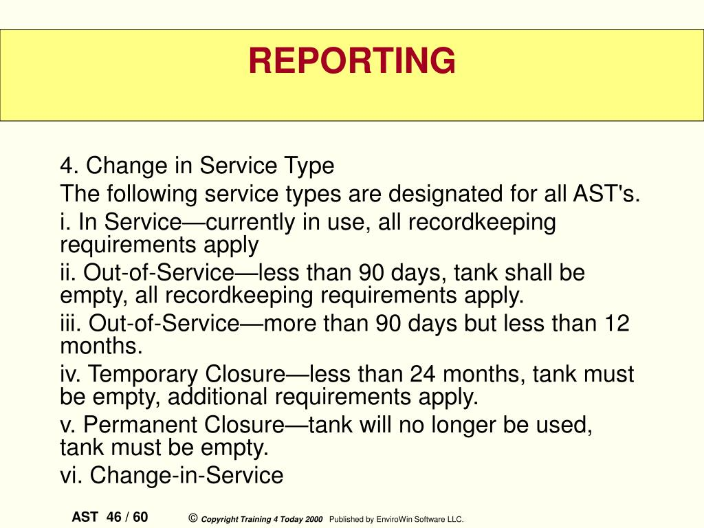 4. Change in Service Type