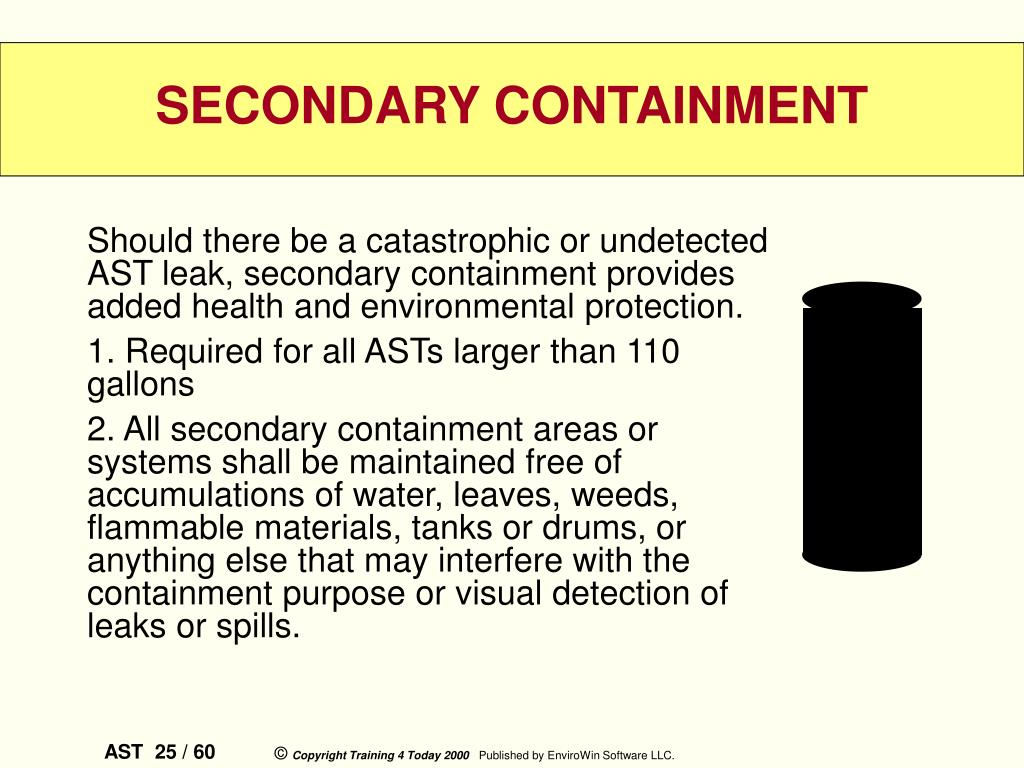 Should there be a catastrophic or undetected AST leak, secondary containment provides added health and environmental protection.