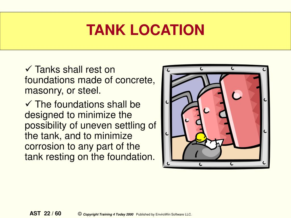 Tanks shall rest on foundations made of concrete, masonry, or steel.