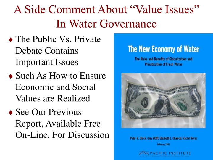"A Side Comment About ""Value Issues"" In Water Governance"