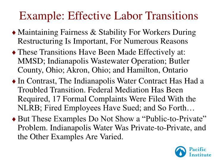 Example: Effective Labor Transitions
