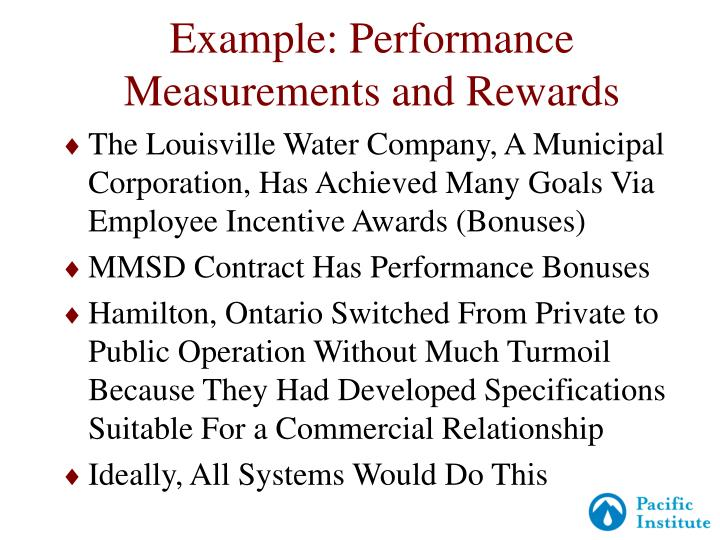 Example: Performance Measurements and Rewards