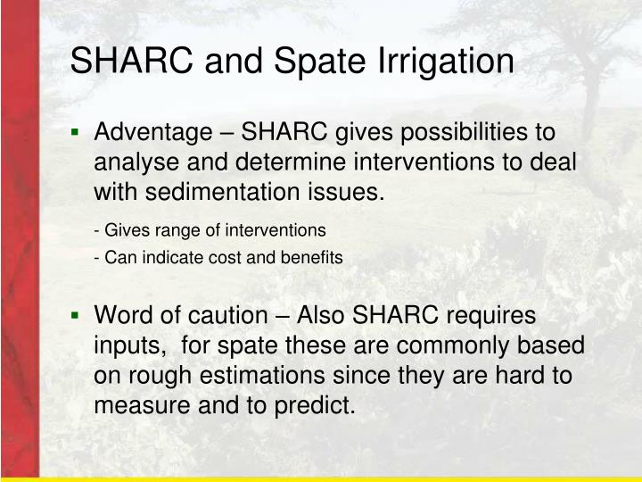 SHARC and Spate Irrigation