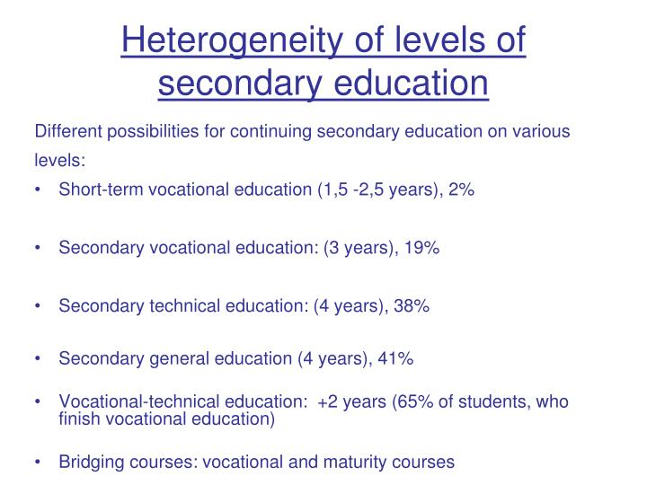 Heterogeneity of level