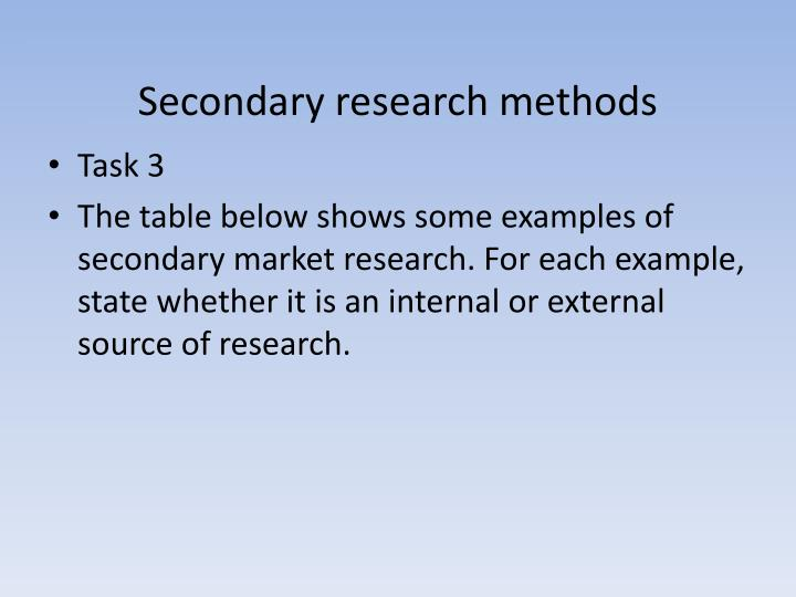 Secondary research methods