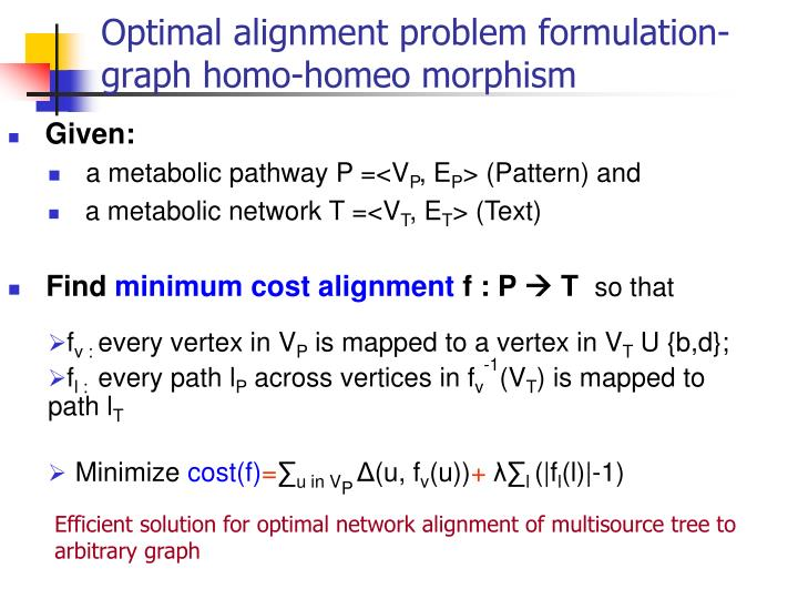 Optimal alignment problem formulation-graph homo-homeo morphism