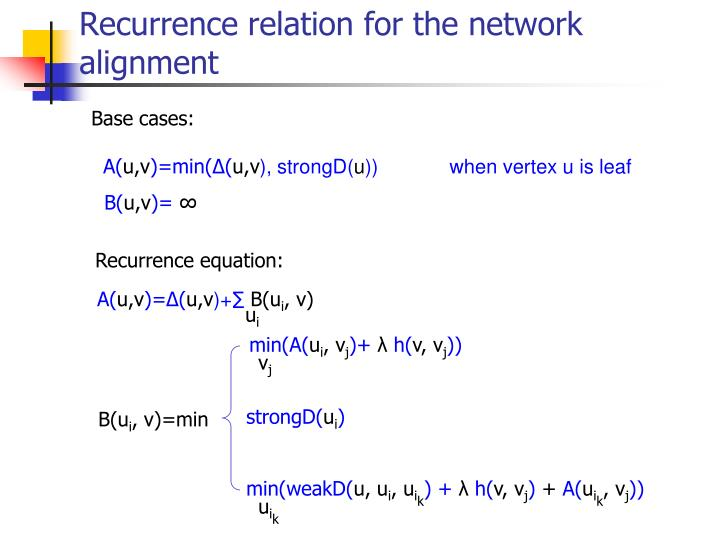 Recurrence relation for the network alignment