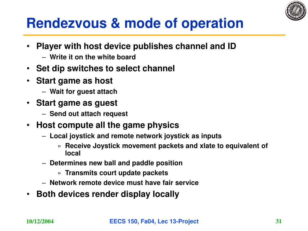 Rendezvous & mode of operation