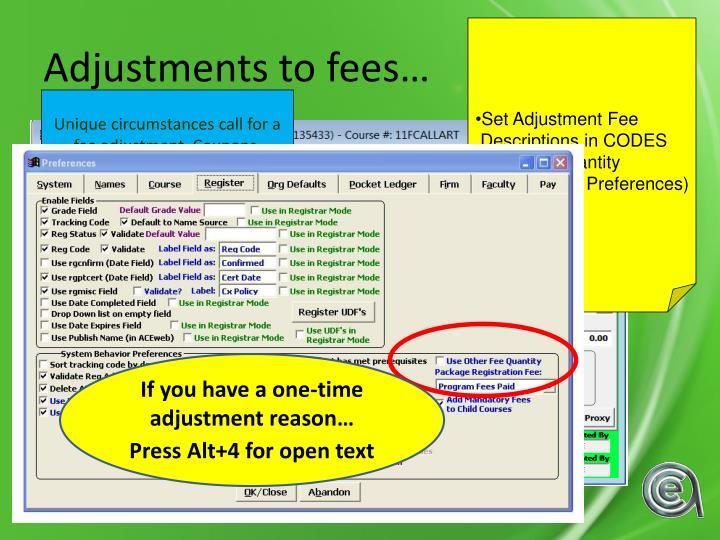 Set Adjustment Fee