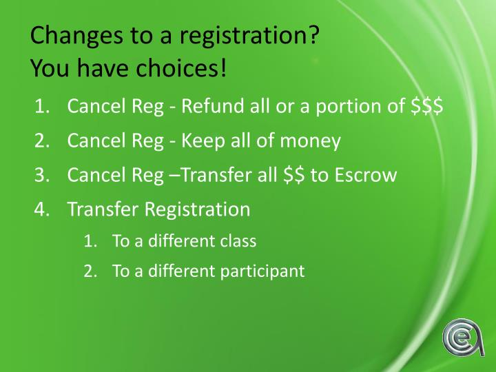 Changes to a registration?
