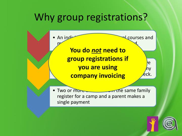 Why group registrations?